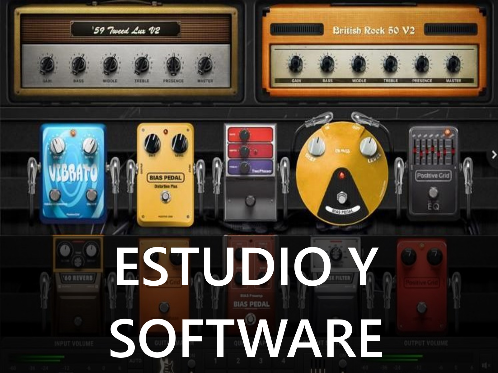 estudio y software para guitarra